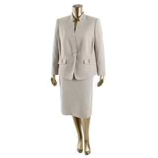 Tahari ASL Womens Plus Jayson 2PC Houndstooth Skirt Suit