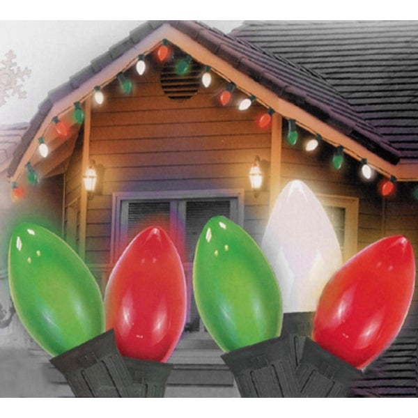 25 Opaque Green, Clear White, and Red C9 Christmas Lights - 24 ft.Green Wire