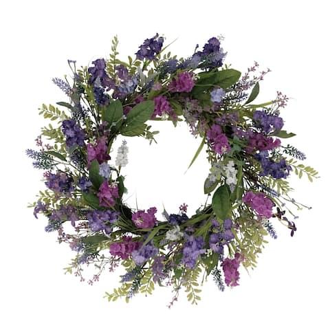"24"" Artificial Lavender Floral Spring Wreath"