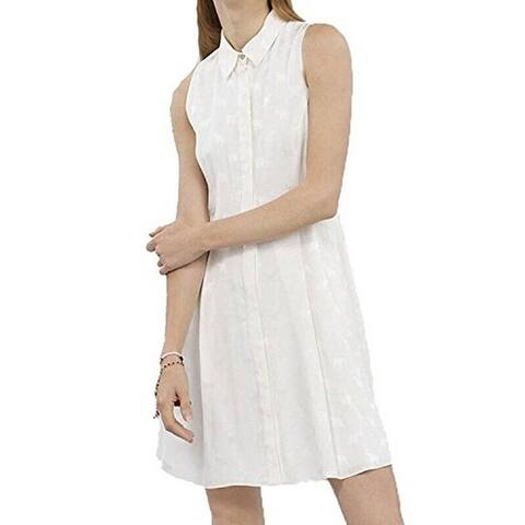 Rachel Roy Women's Fit n' Flare Elephant Embroidered Shirt Dress White (6) - 6