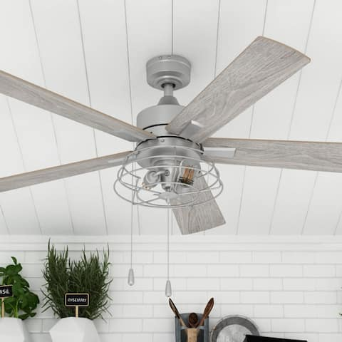 "52"" Prominence Home Marshall Indoor Coastal Ceiling Fan, Pewter"