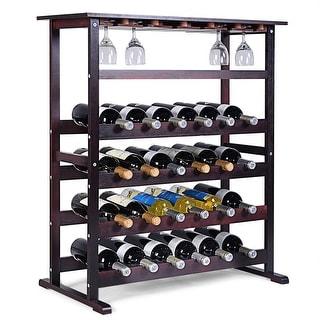Costway 24 Bottle Wood Wine Rack Holder Storage Shelf Display w/ Glass Hanger