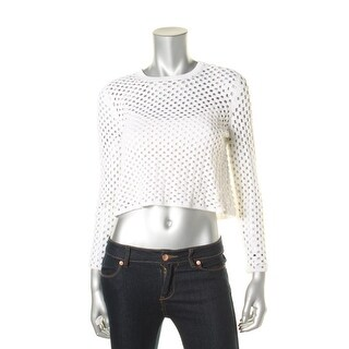 Theory Womens Petites Krezia Open Knit Long Sleeves Crop Sweater