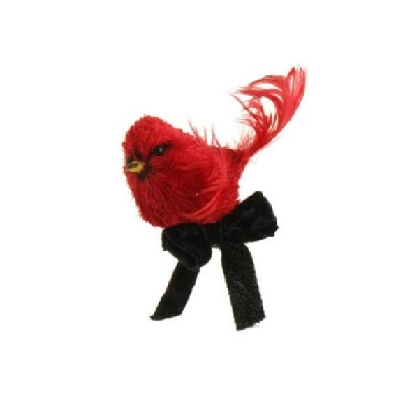 """4.5"""" Glittered Red Cardinal with Black Ribbon Bow Bird Clip On Christmas Ornament"""