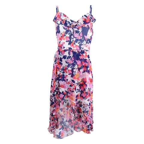 kensie Women's Floral-Print Ruffled Romper Dress - Multi