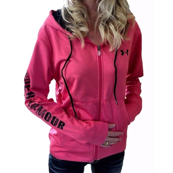 Shop Under Armour Womens Coldgear XL Pink Black Graphic Logo Zip-Up Hoodie  - Free Shipping On Orders Over  45 - Overstock - 19990776 0b15578d1