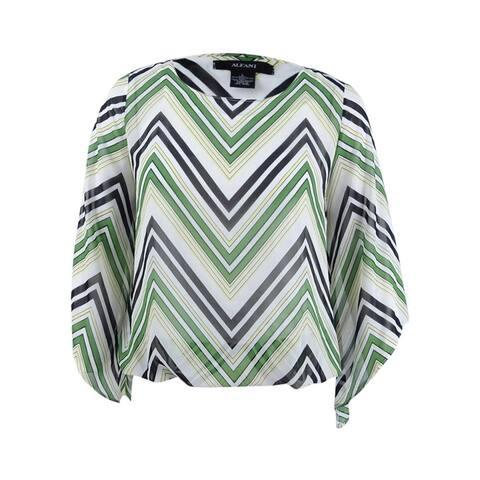 Alfani Women's Petite Angel-Sleeve Blouson Top - Chevron Lines