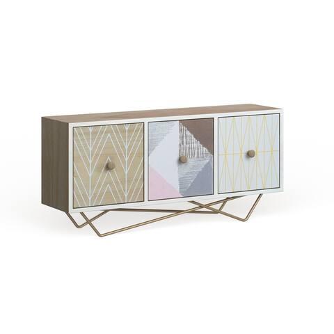 "Jewelry Box w/ 3 Drawers, Metallic Gold Legs & Boho Patterns 19"" x 9"""