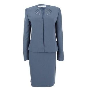 Tahari ASL Women's Illusion Skirt Suit - Cool Grey
