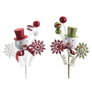 6 Festive Christmas Snowman Picks with Red and Green Hats and Snowflakes 20""