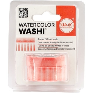 """We R Watercolor Washi Tape .375""""X26' & .625""""X26' 2/Pkg-Sunset"""