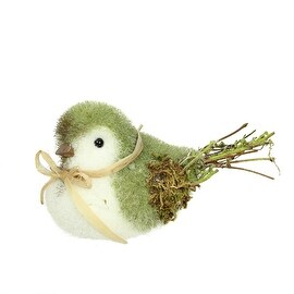 """8.25"""" Green White and Brown Decorative Spring Bird Table Top Figure"""