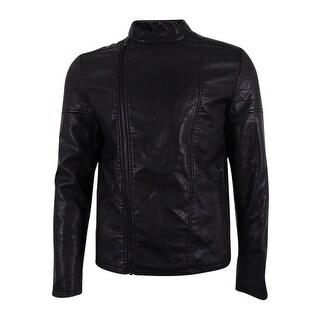 Kenneth Cole Reaction Men's Faux Leather Moto Jacket (Black, M) - Black - M