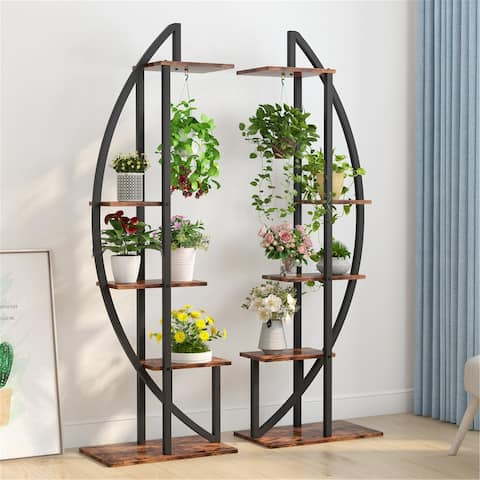 5-Tier Plant Flower Stands, Curved Display Shelves with Hooks,Flower Stand Shelves