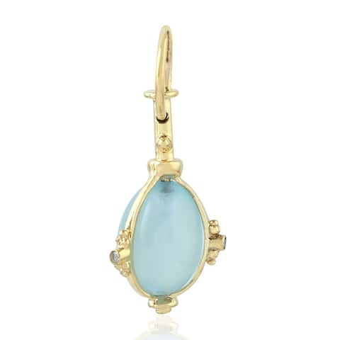 18Kt Gold Diamond Aquamarine Charms Gold Jewelry With Jewelry Box