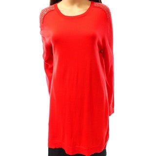 Michael Kors NEW Red Women's Size Small S Embellished Tunic Sweater