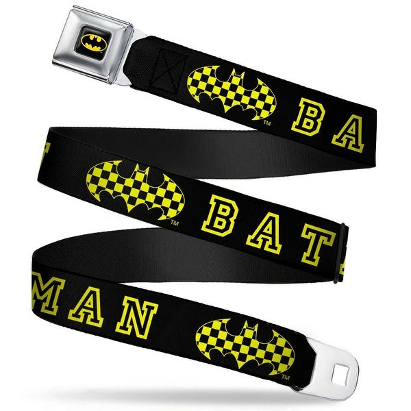 Batman Full Color Black Yellow Batman Checker Logo Black Yellow Webbing Seatbelt Belt