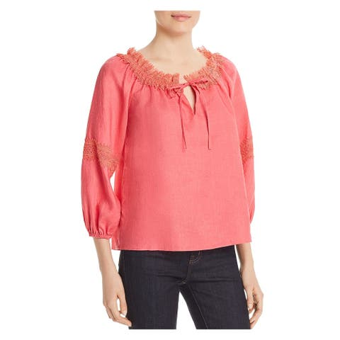 LE GALI Womens Pink Lace 3/4 Sleeve Tie Neck Top Size L