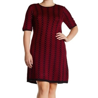 London Times Red Womens Size 3X Plus Abstract Pattern Sweater Dress