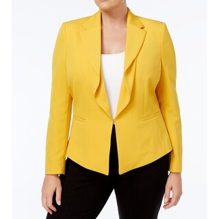 Tahari by ASL Marigold Yellow Womens Size 18W Plus Ruffle Jacket