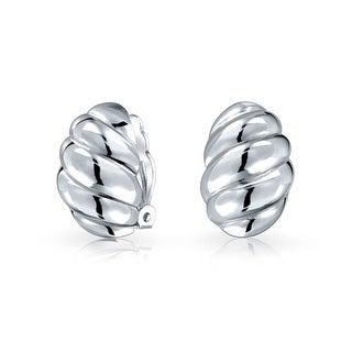 Bling Jewelry .925 Silver Modern Wavy Lines Clip On Earrings Nickel Clip
