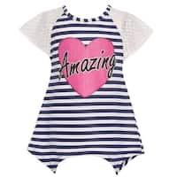 Mini Moca Little Girls Navy White Stripe Angled Hem Heart Applique Top