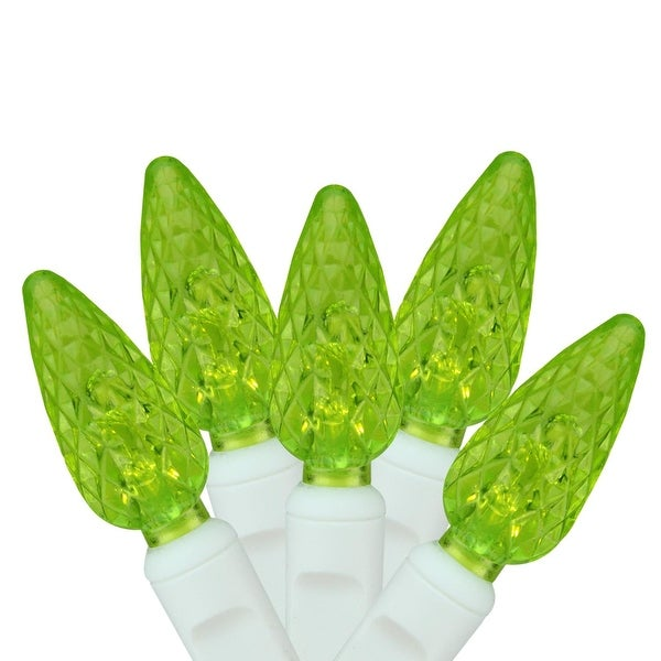 """Set of 100 Lime Green LED C6 Christmas Lights 4"""" Spacing - White Wire"""