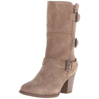 Easy Spirit Womens Kortina Mid-Calf Boots Suede Stacked Heel