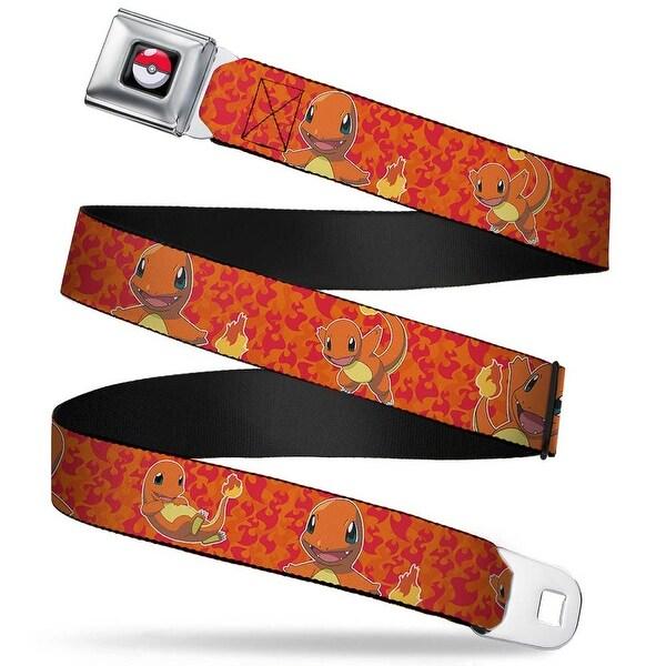 Pok Ball Full Color Charmander Poses Flames Orange Red Webbing Seatbelt Seatbelt Belt