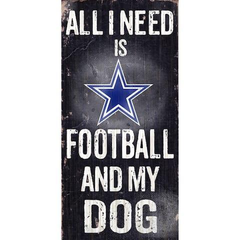 """Dallas Cowboys Wood Sign - Football and Dog 6""""x12"""""""