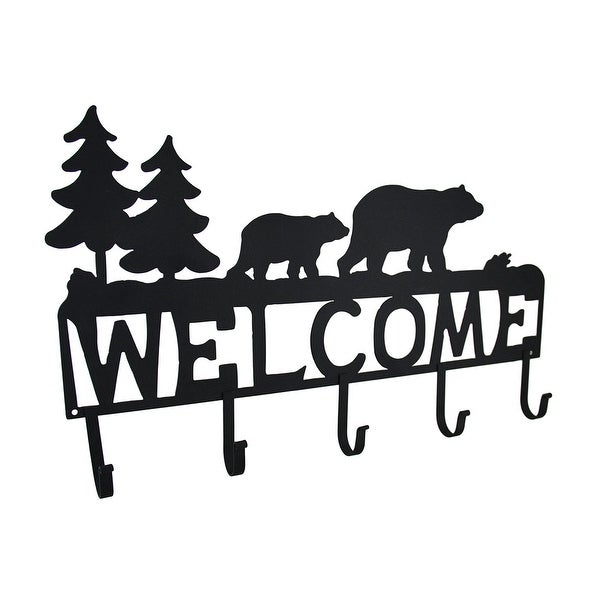 Rustic Black Bear Decorative Welcome Wall Hook - 12 X 19.5 X 1.5 inches