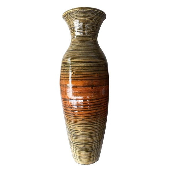 "29.5"" Tall Distressed Gold Spun Bamboo Floor Vase. Opens flyout."