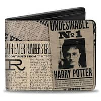 Harry Potter Headlines Undesirable No 1 White Black Bi Fold Wallet - One Size Fits most
