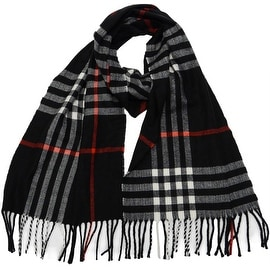 Winter or Fall Cold Weather Irish Plaid Long Cashmere Feel Scarf, Black
