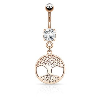 "Round Tree of Life Dangle on Prong Round CZ Surgical Steel Navel Ring-14GA-3/8"" Length (Sold Ind.)"