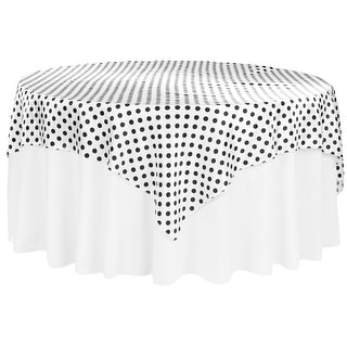 "Polka Dot 72""x72"" Square Satin Table Overlay - Black & White"