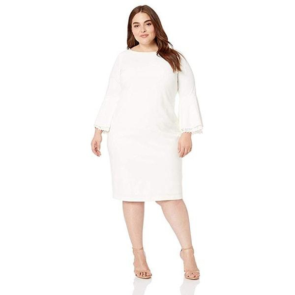 Shop Calvin Klein Plus Size Lace Trim Bell-Sleeve Sheath Dress ...