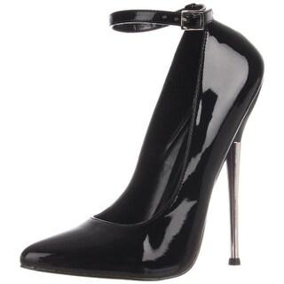 Devious Womens Dagger 12 Patent Leather Almond Toe Stilettos - 5 medium (b,m)