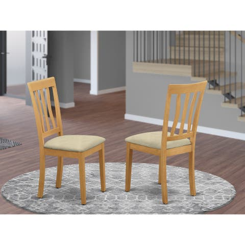 East West Furniture Oak Antique Dining Chair in Oak Finish (Set of 2)