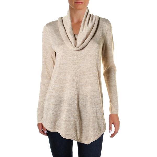 Cupio Womens Pullover Sweater Metallic Cowl