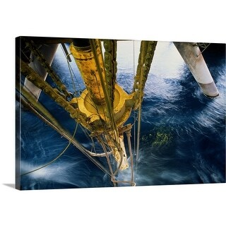 Premium Thick-Wrap Canvas entitled Oil rig drilling pipe at surface of water - Multi-color