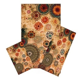 Medallion Multi Colored Area Rug Set - 3 PC SET ! 5 feet x 8 feet , MultiColored carpet, stain resistant, foyer, dining room