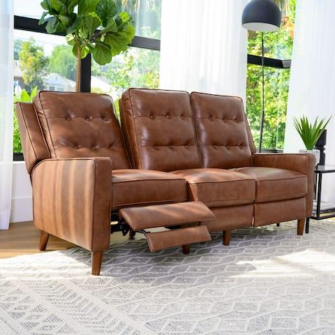 Abbyson Holloway Mid Century Pushback Leather Sofa