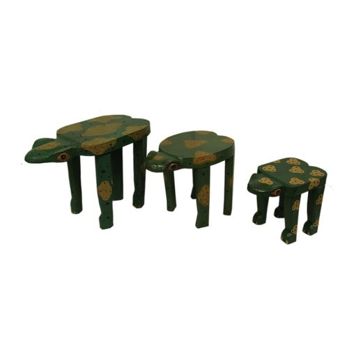 Set Of 3 Hand Carved Handpainted Wooden Frog Tables