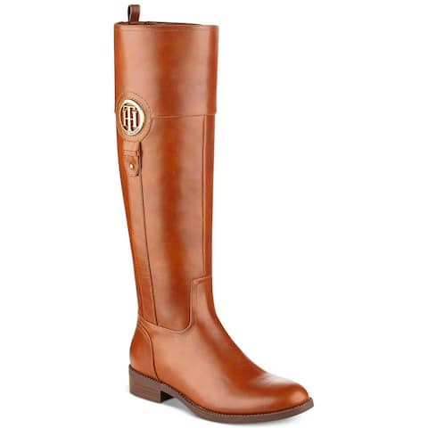 Tommy Hilfiger Womens Ilia2 Leather Almond Toe Knee High Riding Boots