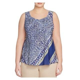 Nic + Zoe Womens Plus Casual Top Silk Printed