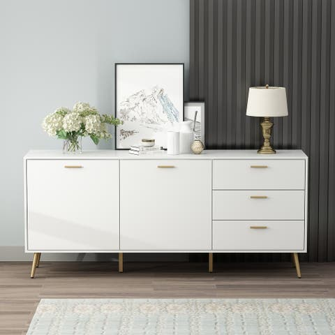 2-Door Multi-Functional Storage Cabinet With 3 Drawer For display