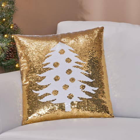Coahoma Glam Sequin Christmas Throw Pillow Cover by Christopher Knight Home