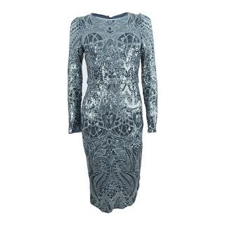 Betsy & Adam Women's Plus Size Sequined Sheath Dress - Gunmetal