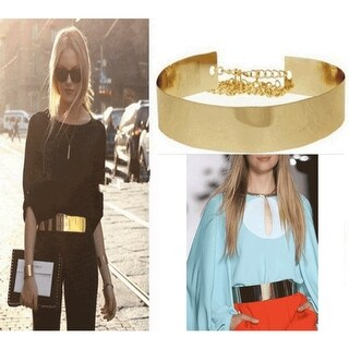 Fashion Wide Metallic Gold Obi-Belt for Sexy Womens